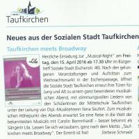 """Gemeindebrief Konzerteinladung """"Taufkirchen meets Broadway"""""""